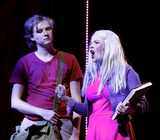Elle Woods, right, portrayed by Eryn Hollobaugh sings with Emmett Forrest, portrayed by Daniel Ernthold Tuesday, July 16, 2019, during a dress rehearsal for Legally Blonde: The Musical at Ohio University Lancaster.