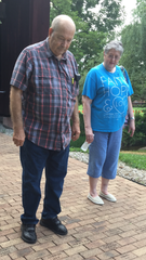 Fairfield County Antique Tractor Club member Larry Joos and his wife, Janet, look for the club's engraved brick Tuesday at the Lancaster Festival Walk of Fame at Ohio University Lancaster.
