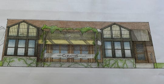 An architectural rendering shows what Coratti's Italian restaurant, bar and bocce ball venue will look like after owners remodel a vacant downtown Howell building.