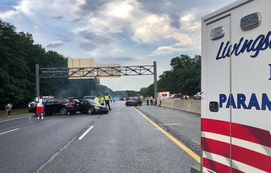 Michigan State Police said 37 vehicles were involved in a pileup on westbound Interstate 96 near Kensington Road in Brighton Tuesday evening. That crash caused six other crashes involving multiple vehicles. Only minor injuries were reported.