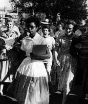 """Go back to Africa."" Hazel Bryan, 15, shouted that and other epithets at Elizabeth Eckford, one of the nine black students who integrated Little Rock Central High School in 1957."
