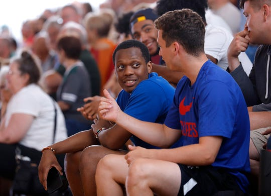 Cassius Winston, left, and Foster Loyer talk while watching the Moneyball Pro-Am, Tuesday, July 16, 2019, at Aim High in Dimondale, Mich. Neither played.
