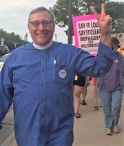 Pastor Matthew L. Sauer at a recent Lights for Liberty vigil in Manitowoc.