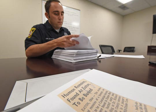 Shelby police officer Adam Turner combs through news articles and other data hoping to locate a missing Shelby woman from almost 75 years ago.