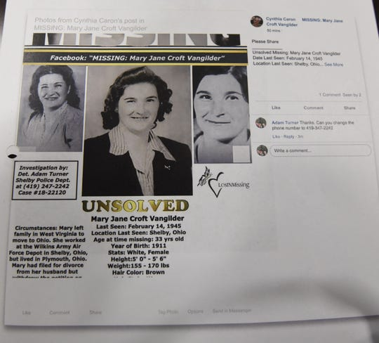 Mary Jane Croft Vangilder was last seen on Valentines Day, 1945.