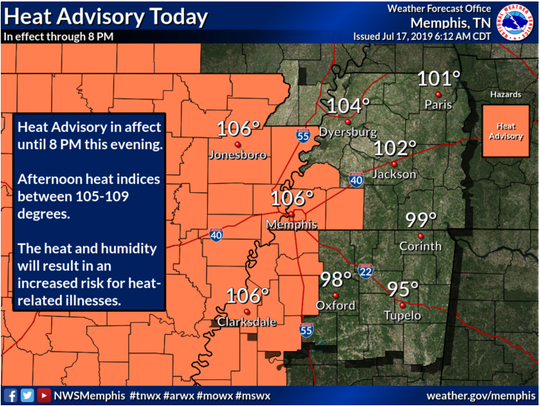 The National Weather Service in Memphis has issued a heat advisory for much of the Mid-South.