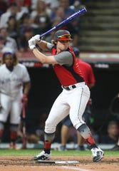 Blaze Jordan of DeSoto Central High School in Southaven competes in the 2019 High School Home Run Derby at Progressive Field in Cleveland on July 8, 2019.