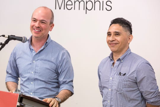 Mauricio Calvo, executive director of Latino Memphis, left, and Manuel Duran, right, speak during a press conference about Duran's time in U.S. Immigration and Customs Enforcement detention and what's next at the Latino Memphis offices on Wednesday, July 17, 2019. Duran spent 465 days in detention before being released on bond from the Etowah County Detention Center on July 11.