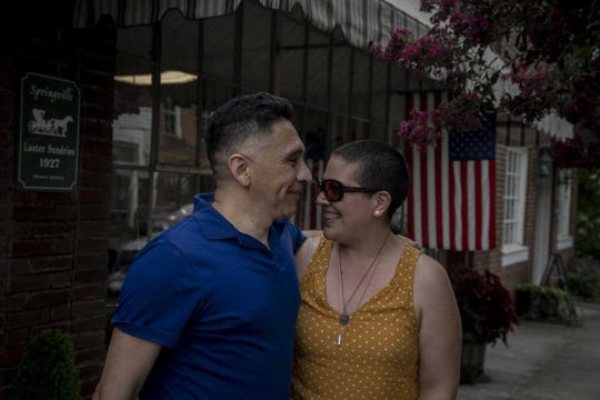 Manuel Duran with fiancee Melisa Valdez shortly after his release on bond from the Etowah County Detention Center in Alabama on July 11, 2019.