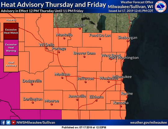 A heat advisory is posted for all of southern and south-central Wisconsin, with excessive heat warnings posted for far southwestern Wisconsin.