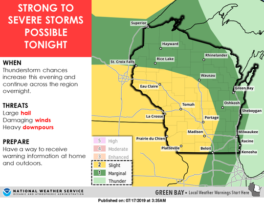 Severe thunderstorms are possible across Wisconsin on Wednesday night.