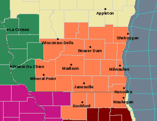 A heat advisory has been issued for the areas shaded in orange. Areas of western Wisconsin, shaded in green, are under a flash flood watch.