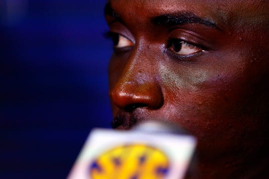 Alabama linebacker Dylan Moses speaks to reporters during the NCAA college football Southeastern Conference Media Days, Wednesday, July 17, 2019, in Hoover, Ala. (AP Photo/Butch Dill)