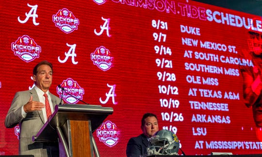 Jul 17, 2019; Birmingham, AL, USA; Alabama Crimson Tide head coach Nick Saban speaks with the media during SEC Media Days at the Hyatt Regency-Birmingham. Mandatory Credit: Vasha Hunt-USA TODAY Sports