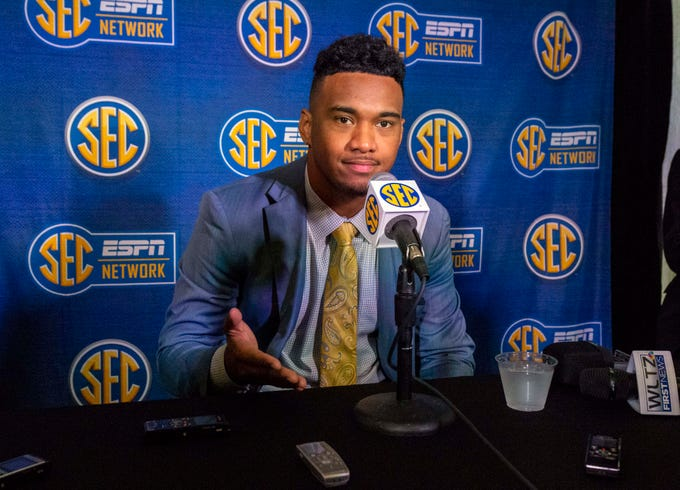 Jul 17, 2019; Birmingham, AL, USA; Alabama Crimson Tide quarterback Tua Tagovailoa speaks with the media during SEC Media Days at the Hyatt Regency-Birmingham. Mandatory Credit: Vasha Hunt-USA TODAY Sports