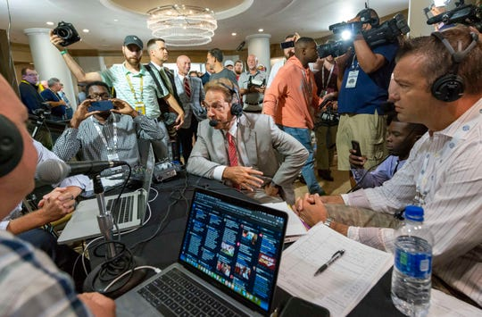 Jul 17, 2019; Birmingham, AL, USA; Alabama Crimson Tide head coach Nick Saban makes his first stop on Radio Row during SEC Media Days at the Hyatt Regency-Birmingham. Mandatory Credit: Vasha Hunt-USA TODAY Sports