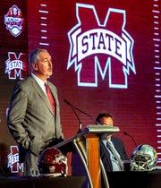 Jul 17, 2019; Birmingham, AL, USA; Mississippi State Bulldogs head coach Joe Moorhead speaks during SEC Media Days at the Hyatt Regency-Birmingham. Mandatory Credit: Vasha Hunt-USA TODAY Sports