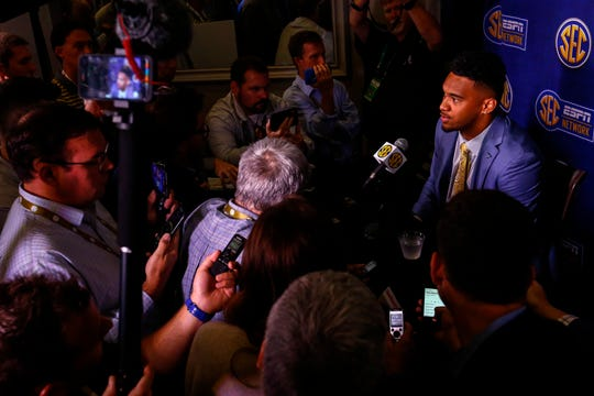 Alabama quarterback Tua Tagovailoa speaks to reporters during SEC Media Days.