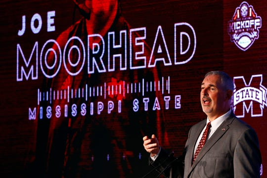 Mississippi State head coach Joe Moorhead speaks during the NCAA college football Southeastern Conference Media Days, Wednesday, July 17, 2019, in Hoover, Ala. (AP Photo/Butch Dill)