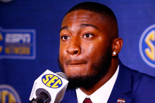 Mississippi State tight end Farrod Green speaks to reporters during the NCAA college football Southeastern Conference Media Days, Wednesday, July 17, 2019, in Hoover, Ala. (AP Photo/Butch Dill)
