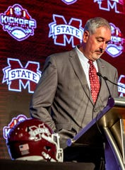 Jul 17, 2019; Birmingham, AL, USA; Mississippi State Bulldogs head coach Joe Moorhead speaks during SEC Media Days at the Hyatt Regency-Birmingham. Mandatory Credit: Vasha Hunt-USA TODAY Sports