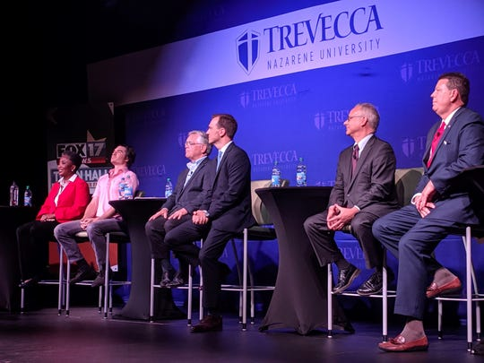 Six mayoral candidates discussed several issues Tuesday night at a town hall. From left: Carol Swain, Jon Sewell, John Cooper, John Ray Clemmons, David Briley and Jody Ball.
