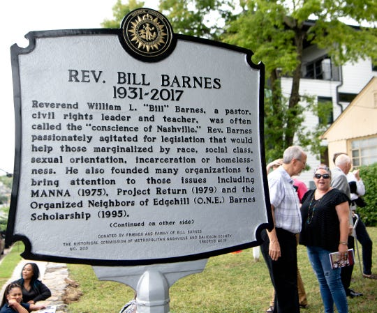 A historical marker authorized by The Metropolitan Historical Commission honoring the work and memory of Rev. Bill Barnes stands in front of Edgehill United Methodist Church on Wednesday, July 17, 2019, in Nashville, Tenn.