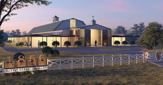 A rendering of the Nearest Green Distillery in Shelbyville, Tenn., which is scheduled to celebrate its grand opening on Sept. 5.