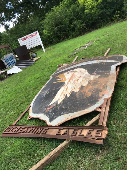 The large Screaming Eagles sign that originated in Afghanistan is now at the Dickson VFW Post 4641 after being rescued by a demolition crew.