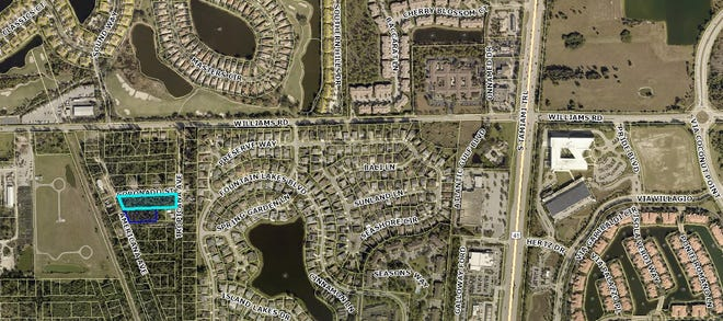 Florida Equity Trust, LLC, which owns the properties outlined in light and dark blue filed a lawsuit against the Village of Estero in March 2019.