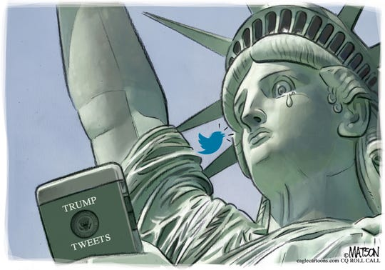 Lady Liberty sheds a tear over Trump's tweets