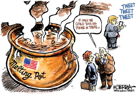 Melting pot good for Trump's phone.