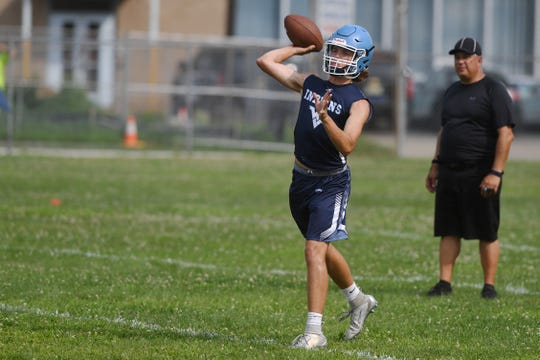 Wayne Valley 7 on 7 tournament on Wednesday, July 17, 2019. Wayne Valley QB Tommy Moran.
