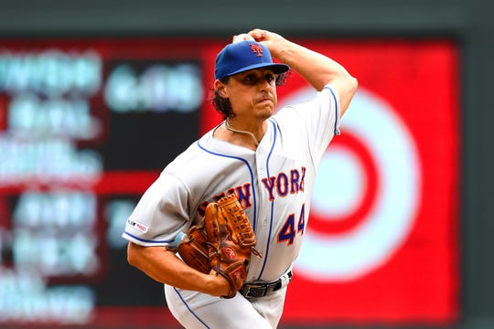 Jul 17, 2019; Minneapolis, MN, USA; New York Mets starting pitcher Jason Vargas (44) delivers a pitch against the Minnesota Twins in the fourth inning at Target Field. Mandatory Credit: David Berding-USA TODAY Sports