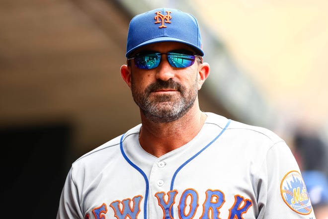 Jul 17, 2019; Minneapolis, MN, USA; New York Mets manager Mickey Callaway (36) looks on in the fifth inning against the Minnesota Twins at Target Field. Mandatory Credit: David Berding-USA TODAY Sports