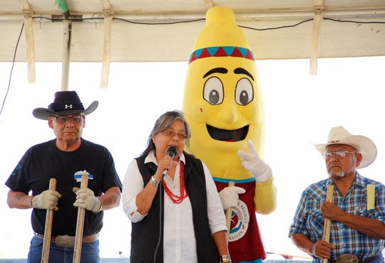 At center, Char Begay, program supervisor for the Navajo Nation Special Diabetes Program's Shiprock service area, talks about the program's new wellness center during the groundbreaking ceremony on July 17 in Shiprock.