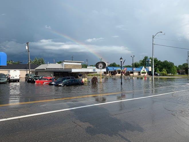 Flooding happened around A Good Day Cafe and Mo's Garage in South Lyon Tuesday. The cafe's owner said the restaurant's interior was not damaged.
