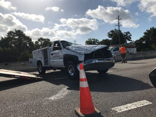 A two-vehicle crash on I-110 in Pensacola Wednesday morning caused a major traffic jam near exit 3.