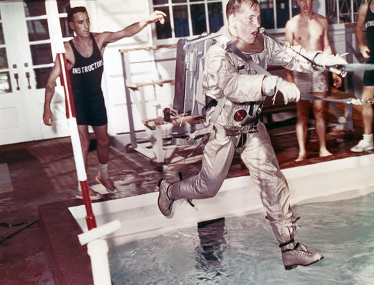 Ed White, who was the first American to perform a spacewalk, participates in a training exercise in the 1960s at a training pool at Naval Air Station Pensacola.