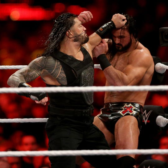 Roman Reigns squares off against Drew McIntyre at WWE WrestleMania in April in New York City.