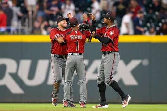 Arizona Diamondbacks left fielder David Peralta (6) and center fielder Jarrod Dyson (1) and right fielder Adam Jones (10)  could each be traded before the 2019 MLB trade deadline, according to reports.