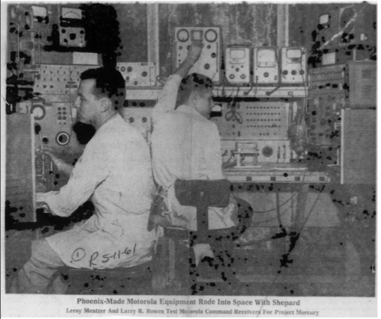 Leroy Mentzer (left) and Larry R. Bowen (right) test Motorola command receivers for Project Mercury in 1961.