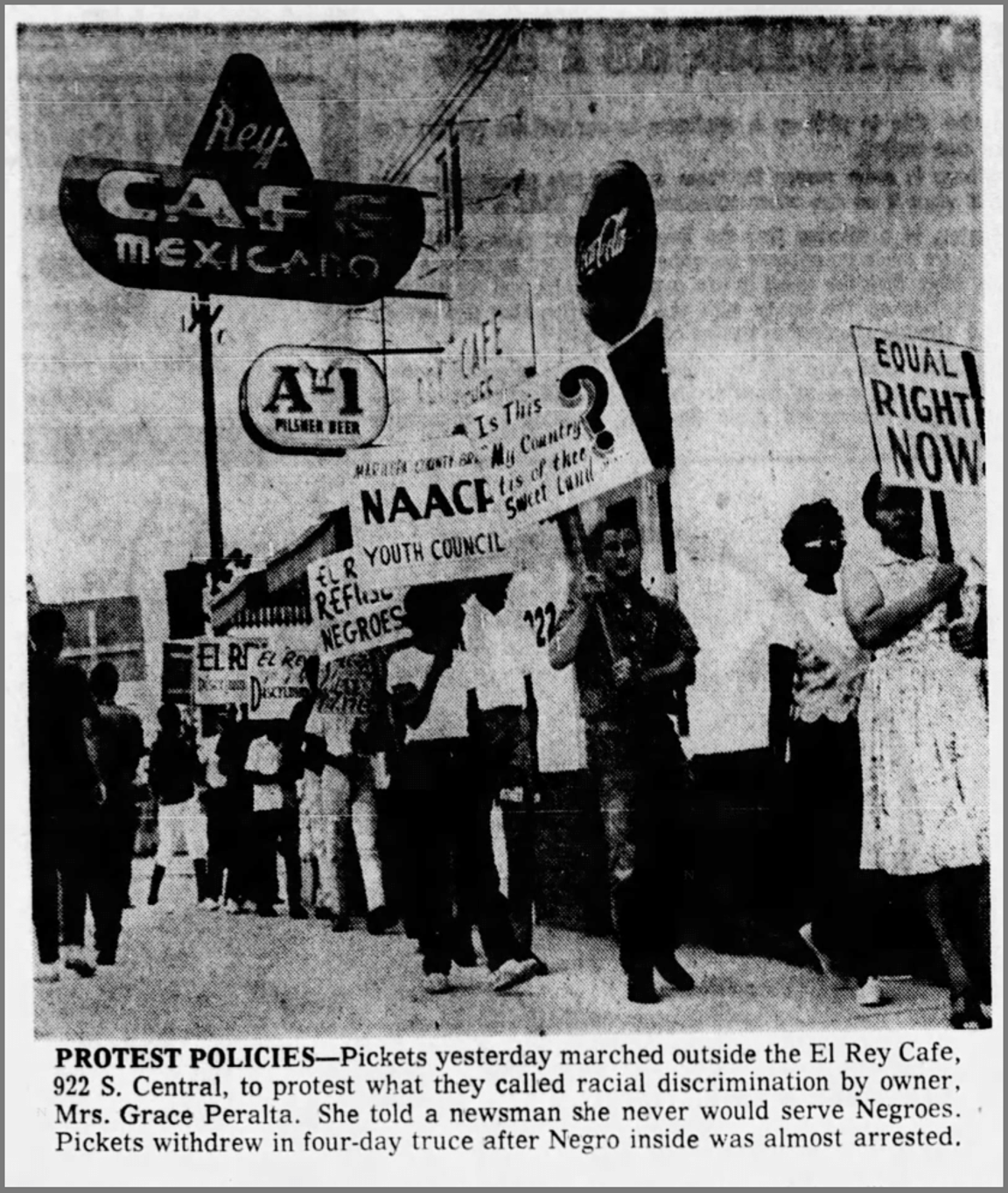 A clipping of The Arizona Republic on Sept. 4, 1963, of a sit in at El Rey Cafe.