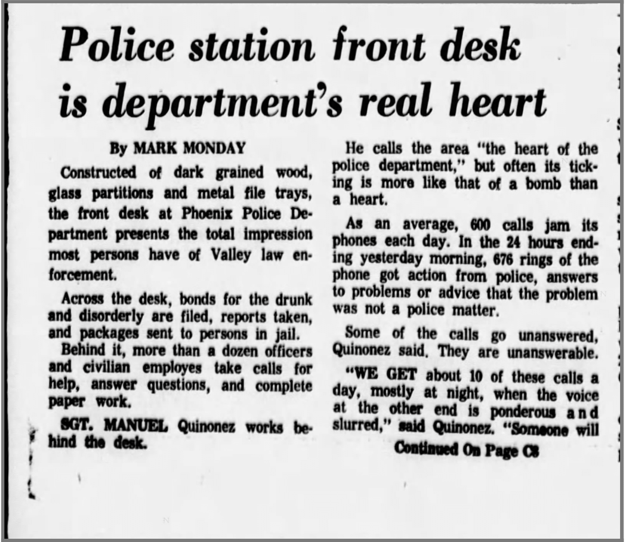 """A clipping from The Arizona Republic on Oct. 6, 1968, about Manny Quiñonez being reassigned to the desk following his second shooting. He was the first """"call back"""" sergeant assigned with answering the phones with new tips."""