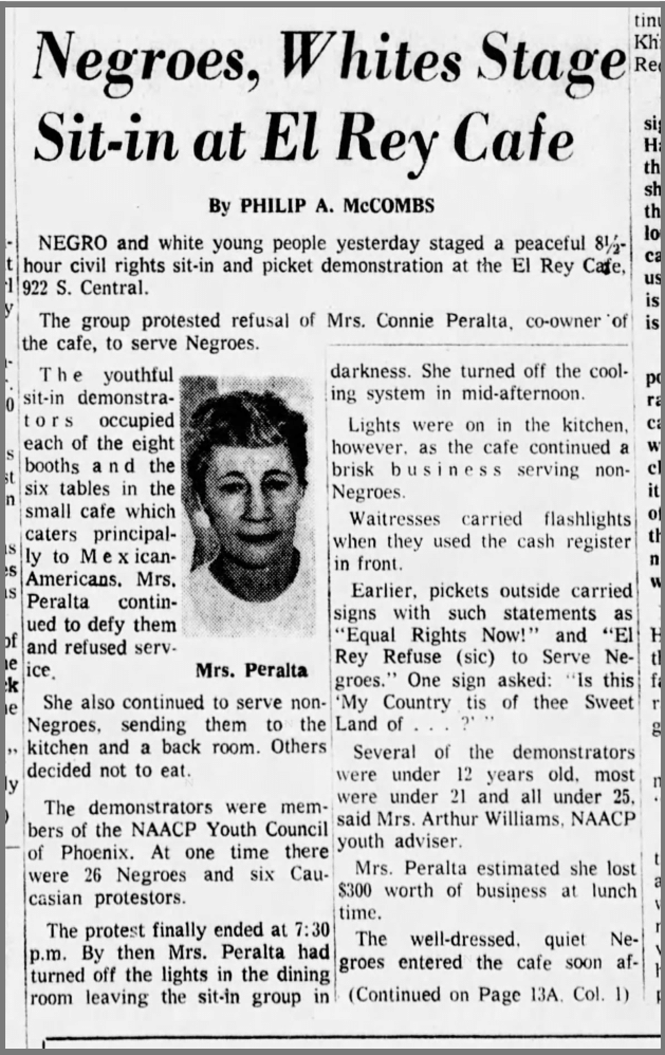 A clipping from The Arizona Republic on Sept. 1, 1963 of a sit in at El Rey Cafe.