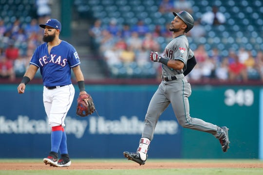 Jul 16, 2019: Arizona Diamondbacks right fielder Jarrod Dyson (1) runs to second base with a double in the first inning against the Texas Rangers at Globe Life Park in Arlington.