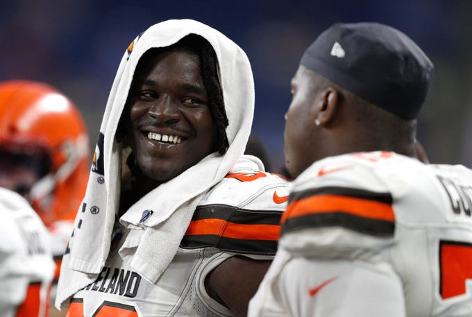 Aug 30, 2018; Detroit, MI, USA; Cleveland Browns offensive tackle Desmond Harrison (69) smiles from the sidelines during the fourth quarter against the Detroit Lions at Ford Field. Mandatory Credit: Raj Mehta-USA TODAY Sports