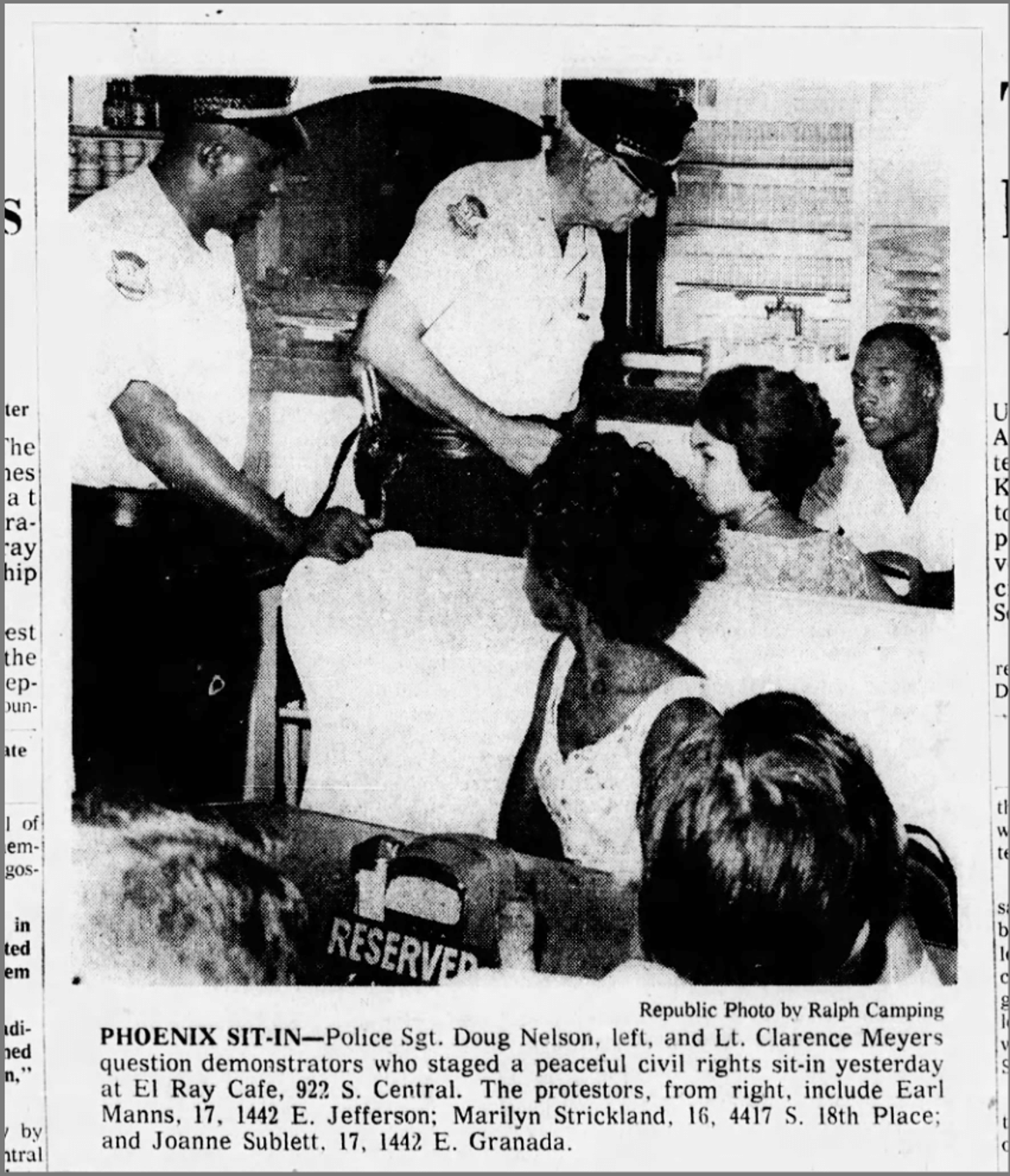 A clipping of The Arizona Republic on Sept. 1, 1963 of a sit in at El Rey Cafe.
