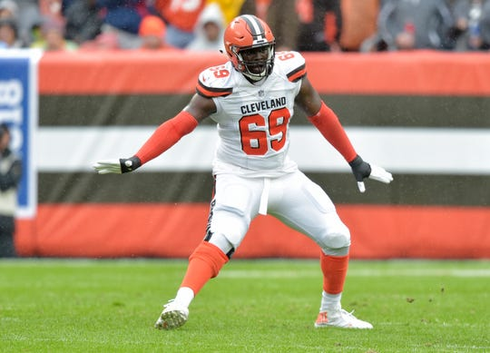 Cleveland Browns offensive tackle Desmond Harrison blocks during the first half of an NFL football game against the Pittsburgh Steelers, Sunday, Sept. 9, 2018, in Cleveland. (AP Photo/David Richard)