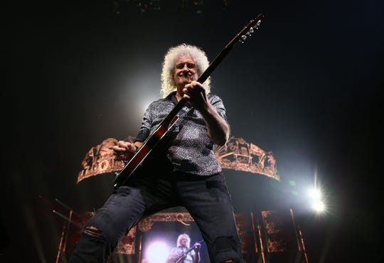 Brian May of Queen + Adam Lambert perform during their Rhapsody Tour at Talking Stick Resort Arena on July 16, 2019 in Phoenix, Ariz.